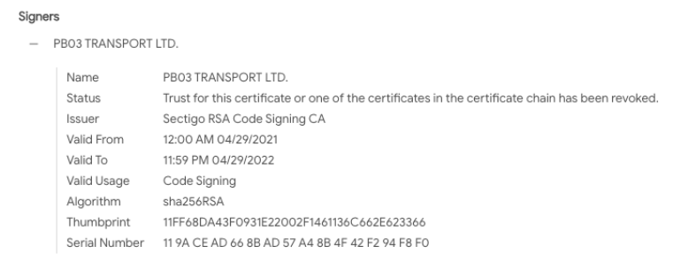 Certificate appears to have only been used by REvil malware that was deployed during this attack